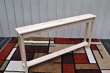 "Unfinished 60"" Narrow Console Sofa Foyer, Shaker Square Edge Pine Table w/Shelf"