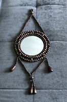 Vintage Wood Beads Hanging Wall Mirror BoHo Mid Century MCM