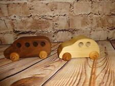 Two Handcrafted Wood Car & Truck Toy/Model with Wooden Wheels Decoratior Item