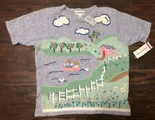 Alfred Dunner Sweater Xl Blue Embroidered Apple Farm Pond Pullover Vintage
