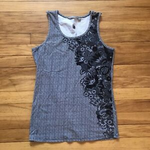 Athleta Gray Patterned Floral Knit Sleeveless Tank Top Size Small Stretch Yoga