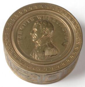 """Memorial brass box with portrait of Duke Wellington"", Spain (?), 1814"
