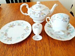 Paragon Bone China 'Enchantment' Breakfast Tea Set, Teapot, Egg Cup, Cup Saucer