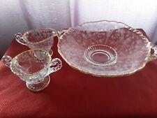 Vintage Cambridge Glass Gold Trim Candy Bowl , Creamer and Sugar Bowl. Set of 3.