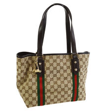 GUCCI Shelly Line GG Shoulder Tote Bag Brown Canvas Leather AK34175g