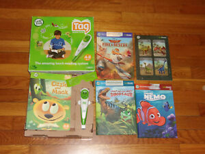 Leap Frog TAG Reader GREEN Stylus Working Pen  #30704 & 4 Books EUC