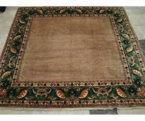 Afghan Gabbeh Beige Tan Square Area Rug Hand Knotted Wool Carpet (6.9 x 6.7)'