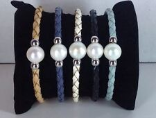 Pearl Leather Bracelet Cuff  6.5 to 8 Inch Wrists Various Colors To Choose From