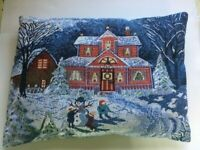 Throw Pillow Winter Children Snowman Christmas Home House Tapestry Handmade Play