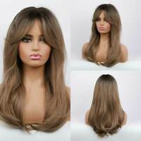 Natural Black Ombre Brown Wave Synthetic Hair Wavy Wig With Long Bangs for Women