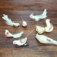 Vintage Christmas White Bird 7 Piece Lot For Parts or Restore Holiday Ornaments