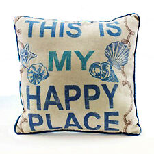 This Is My Happy Place - Decorative Throw Pillow Nautical Beach Coastal Decor