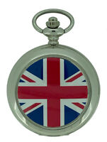 New Union Jack Flag Silver Case Quartz Pocket Watch And Chain by WESTIME
