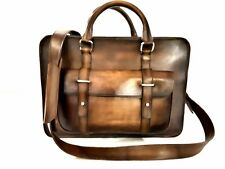 terse berluti style hand patina deux jour suprem leather laptop briefcase bag