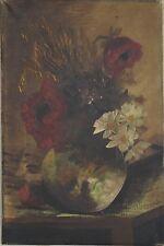 Uno de los primeros 20th Century flores rojas y lirios Bodegón óleo sobre lienzo firmado