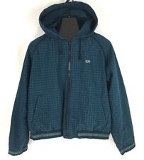 VTG FILA Hooded Full Zip Windbreaker Jacket Plaid Spellout Youth Kids Boys Sz XL