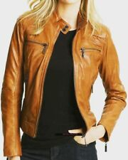 TAN BROWN LADIES LEATHER JACKET