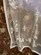 "Chinoiserie White Cotton Lace Curtain c1920s period Design 36""/64"""