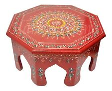 """Indian Round Low Wooden Stool Bajot Chowki Painted Design Side Table (Red) 12"""""""