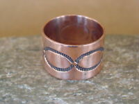 Navajo Indian Jewelry Copper Hand Stamped Ring by Douglas Etsitty, Size 12 1/2