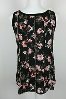 White House Black Market Top Small Blouse Shell Black Pink Floral Sleeveless