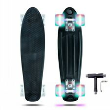 Black Skateboards Complete 22 inch Mini Cruiser Retro Skateboard with Led Wheels