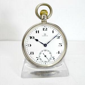 Selt. antike Omega  Taschenuhr Silber gefertigt für den Englischen Markt um 1900