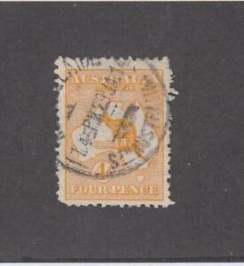 AUSTRALIA (MK4892)  # 6  VF-USED  4d  1913 KANGAROO & MAP /ORANGE  CAT VALUE $40
