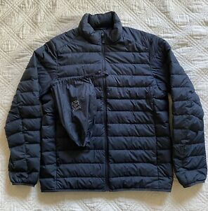 Uniqlo Mens Ultra Light Weight Down Navy Blue Puffer Jacket Full Zip Fits Like M