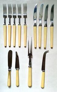 13x Vintage Joseph Rodgers Faux Bone Fish Knives/Forks Cake Cutter Serving Fork