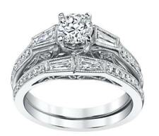 Diamond Bridal Wedding Set 1.56ct 18k White Gold Baguette Engagement Ring Band