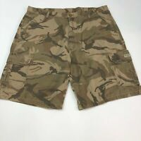 Wrangler Cargo Shorts Mens 42 Green Brown Tan Flat Front Camouflage 100% Cotton