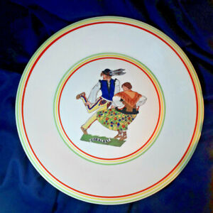Original 60s Zofia Stryjenska Art Deco Goralski  Folk dance plate Cmielow Poland