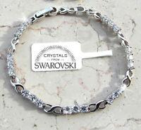 Bracciale tennis pl. oro bianco 18k Uomo Donna,braccialetto infinito classico SW
