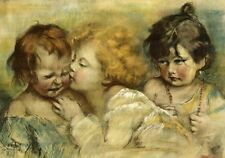 """perfect 36x24 oil painting handpainted on canvas""""children""""@N3914"""