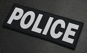 """8"""" X 3"""" Woven Uniform POLICE Placard Patch Law Enforcement Black Lite Grey Hook"""