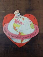Vintage Pop-Up Valentine Card, Heart Shaped Think The World Of You, My Valentine