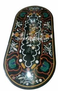 Black Marble Dining Table Top Multi Stone Mosaic Inlaid Marquetry Home Deco H948
