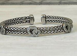 Dyadema Sterling Silver Double Heart Bracelet Cuff Italy
