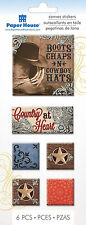 Paper House 100% COUNTRY 3-D Canvas Art Stickers scrapbooking BOOTS HAT ROPE