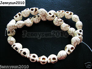 Side Ways Howlite Turquoise Carved  12mm x 13mm Skull Loose Spacer Beads 16''