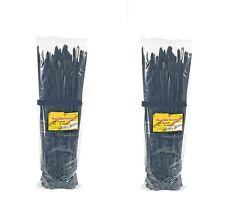 2x 100 pcs 14 inch Cable Zip Ties Black Nylon Mountable Head 200 pack 120 Lbs