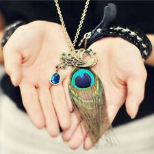 Retro Vintage Women Lady Cute Peacock Pendant Sweater Long Chain Necklace