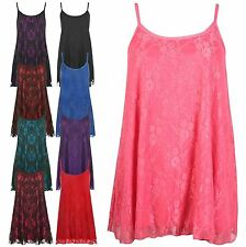 New Womens Sleeveless Strappy Lace Lined Flared Swing Party Dress 12-30
