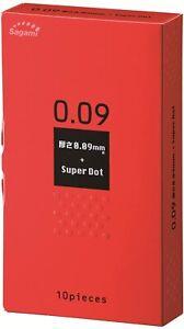 Sagami 0.09 THICK & SUPER DOT Latex Condoms 10-Pcs long time pleasure JAPAN