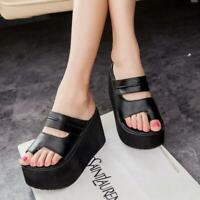Women Open toe PU Leather High Wedge Heel Platform Slippers Shoes Summer Sandals