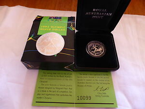 1992 RAM $1 Silver Proof Coin Barcelona Olympic Games