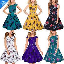 UK Womens 50s 60s Vintage Housewife Pin Up Rockabilly Pretty Swing Dress Plus Sz