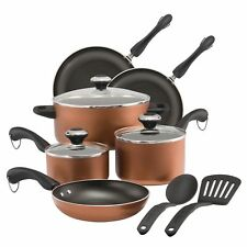 Paula Deen 11 Piece Copper Nonstick Kitchen Cooking Pots and Pans Cookware Set