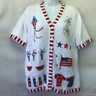 Quacker Factory Women's Cardigan Red White Blue Patriotic Theme SS Button Up Med
